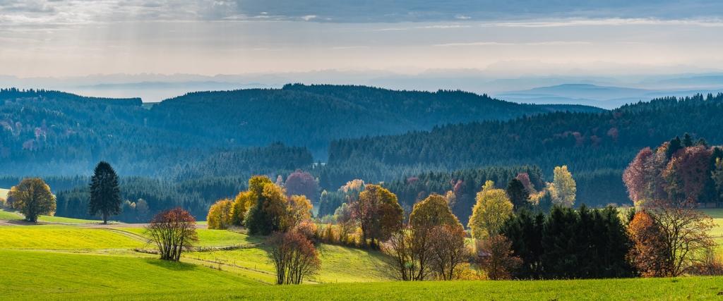 Gruene Landschaft im Herbst mit blauen Hügeln im Hintergrund
