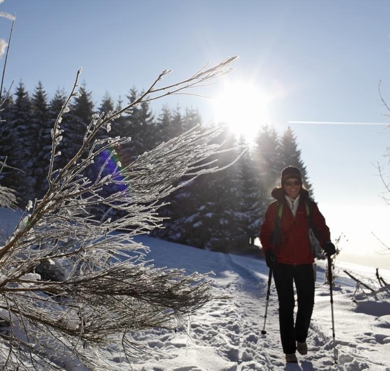 Frau beim Winterwandern im Hochschwarzwald - © HTG