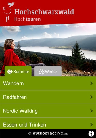 Menüauswahl auf der Tourenfinder App