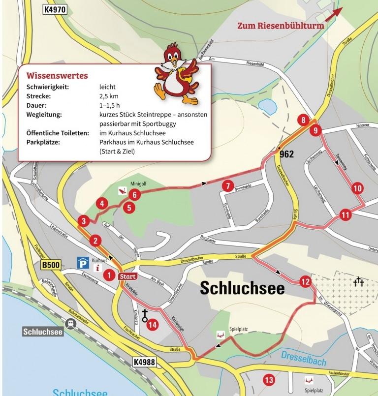 Karte mit Weg der Ortsrallye